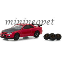 GREENLIGHT 97040 E 2002 NISSAN SKYLINE GT-R R34 1/64 with EXTRA WHEELS RED