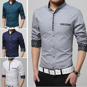 Men's Dress Shirts Luxury Casual Slim Long Sleeve Business Work Multicolor Shirt