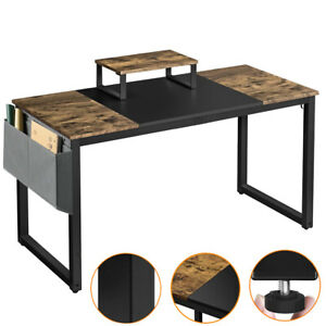 Wooden Computer Desk Study Desk Home Office Table with Movable Monitor Stand