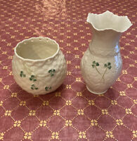 Irish Porcelain Vases by Belleek with Shamrock Design - One Rare Vintage