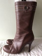 MISS SIXTY real leather ladies brown zip up stiletto calf length boot size 41