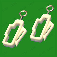 2x Plastic White Curtain Line End Rail Hooks, Track Stoppers, Glide Stop