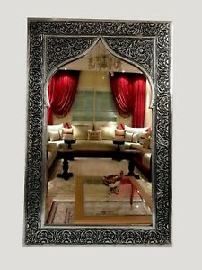 mirror wall frame vintage  Hanging Framed art glass carved moroccan hand10''16''