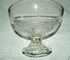 Clear Glass Footed Fruit Bowl Grape Design, Unknown Maker