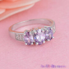 Womens White Gold Plated Exquisite Zirconia Engagement Ring Jewelry Wedding 7-9