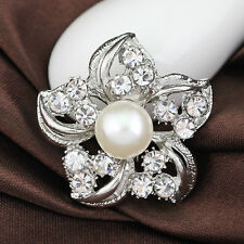 Women Bridal Bouquet Rhinestone Crystal Brooch Pin Silver Pearl Brooches Flower