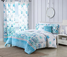 Twin, Full/Queen, or King Comforter Bed Set or Window Curtains Coastal Seashell