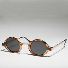 Art Deco Oval Sunglass with Embossed Metal Temples Tort/Gold/ Gray Lens - Degas
