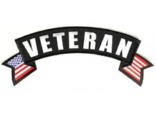 "(L39) VETERAN with FLAG 11"" x 3"" Large TOP ROCKER iron on back patch (1004)"