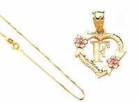 """14k Solid Gold Alphabet Letter A to Z in Heart/Flower Pendant 18"""" Gold Box Chain"""