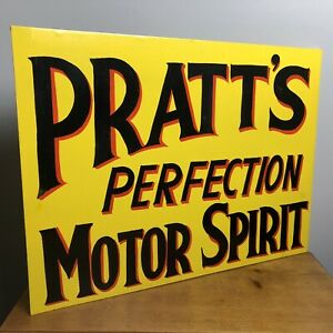 Hand Painted Pratts Perfection Motor Spirit Sign - Perfect Mancave Sign
