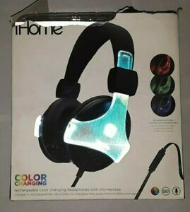 IHOME IB37 GLOWTUNES COLOR CHANGING OVER EAR HEADPHONES WITH MIC + REMOTE uns