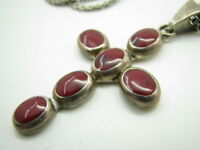 STERLING SILVER Flat Chain Necklace RED JASPER POLKA-DOT CROSS PENDANT Mexico