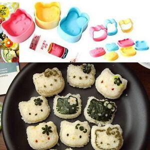 3Pcs Creative DIY Cute Sushi Rice Mold Bento Maker Tool Rabbit Bear Cat