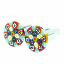 Murano Glass Cufflinks Red Green White Blue Circular Patterned with Millefiori