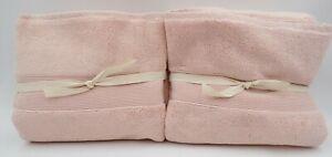 "Pottery Barn Classic Organic Plush Soft Bath Towels 28x 55"" Soft Rose S/2 #9942"