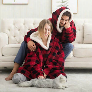 Plaid Winter Blanket Hoodies Soft Warm One Size Sweatshirts Women Men Dresses