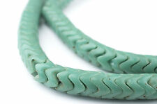 African Glass Snake Beads, Sea Green Color (Large) Ghana
