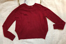 Autumn Cashmere Womens Cashmere Crew Neck Sweater Maroon Size S Long Sleeves