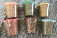 Set of 6 Vintage Mid Century Raffia Ware Melamine Burlap multi-colored Cups Mugs