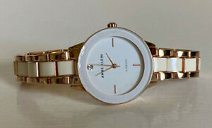 NEW! ANNE KLEIN W/ GENUINE DIAMOND WHITE DIAL ROSE GOLD DIAL BRACELET WATCH $95