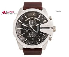 DIESEL MENS LARGE CUT-OUT LEATHER WATCH - GUNMETAL