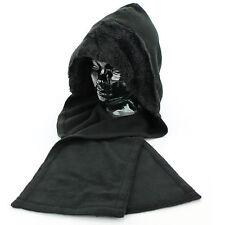 Ladies hood hat faux fur trim black warm fleece winter scarf