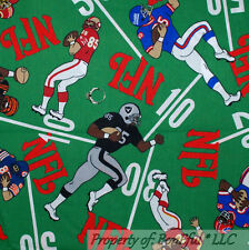BonEful Fabric FQ Cotton Decor VTG 1998 Foot*Ball NFL Team Sport School Boy Room
