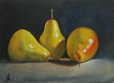 Original Oil Painting Still Life Fruit Food THREE PEARS Signed by JV 5x7in.
