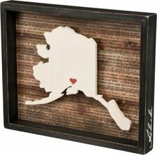 Alaska State Shape Box Sign Primitives by Kathy Red Heart for Favorite City