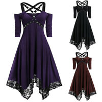 Women's Gothic Dress Steampunk Lace Plus Size Irregular Swing Medieval Strappy