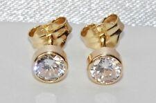 9ct Yellow Gold 0.50ct Solitaire Bezel Set Ladies Stud Earrings -