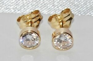 9ct Yellow Gold 0.50ct Solitaire Bezel Set Ladies Stud Earrings - Solid 9k Gold