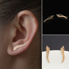1 Pair Fashion Girl Ear Stud Long Leaf Shape Simple Design Fine Jewelry