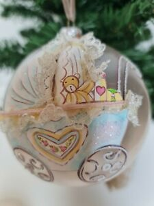 Babys First Christmas Glass Baubles Xmas Decor hanging ornaments 1st xmas 10cm