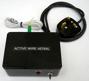Active Antenna with 5m wire, 500kHz - 30MHz, mains powered. Made in Dorset UK.