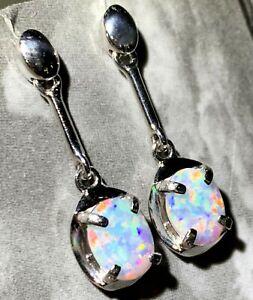 Women's Jewellery Solid Natural Fire Opal Earring Silver Set Opal Size 8x6mm