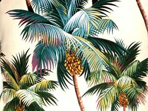Tropical Hawaiian 100% Cotton Barkcloth Fabric Pillow SLIPCOVER ~Palm Trees~