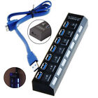 Laptop PC 7 ports USB 2.0/ 3.0 HUB Power On/Off Switch Splitter Adapter Cable