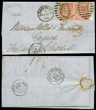Gb Qv 1865 Double Rate.Edward Rowcliffe.4d Garter Wmk x 2 +Wing Margin cv £350
