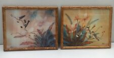 Flower Coloured Prints Blossoms & Tropical Birds X2 By Artist Jonny Lung VGC
