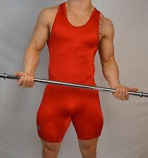 Vintage RED Men's used NYLON Wrestling Singlet Adult L