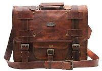 New Vintage Brown Goat Genuine Leather Messenger Satchel Laptop Briefcase Bag