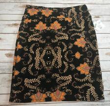 Vtg NWT Lularoe 3XL Cassie Black Paisley Skirt Floral Beige Pink Orange Stretch