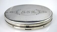 Vintage Sterling Silver Compact Engraved Oval Shaped With Mirror Signed