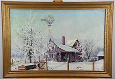 Wintery Day Oregon Farmhouse Sophie Jensen 1945 Original Oil on Canvas Painting