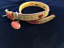 COACH DOG COLLAR KHAKI/RED W/HEART GROMMETS OVAL CHARM  MEDIUM 13.5-16.5 In