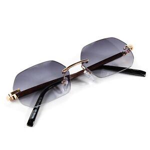Rimless Gray Tint Gradient Vintage Frameless Woodgrain Hip Hop Sunglasses