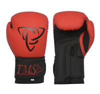 TMS Leather Boxing Gloves Professional MMA Sparring Punch Bag Training Fight