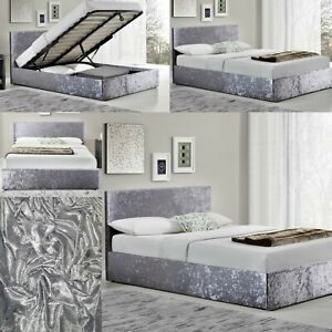 Divan Bed Base Cover Silver Crushed Velvet Base Valance Sheet Single Double King